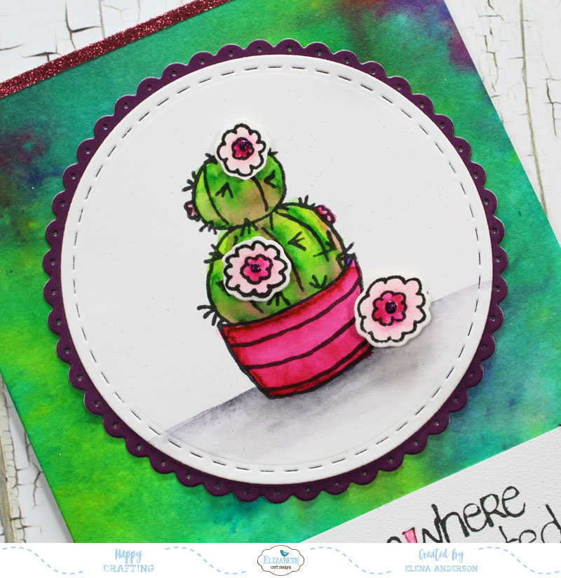 Watercolor Cactus Card - Detail