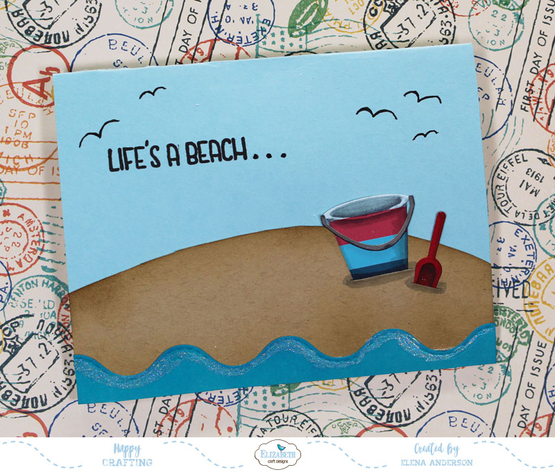 Summery Sand Castle Pop-Up Card Front