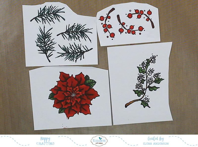 Classic Poinsettia Christmas Card - Step 1