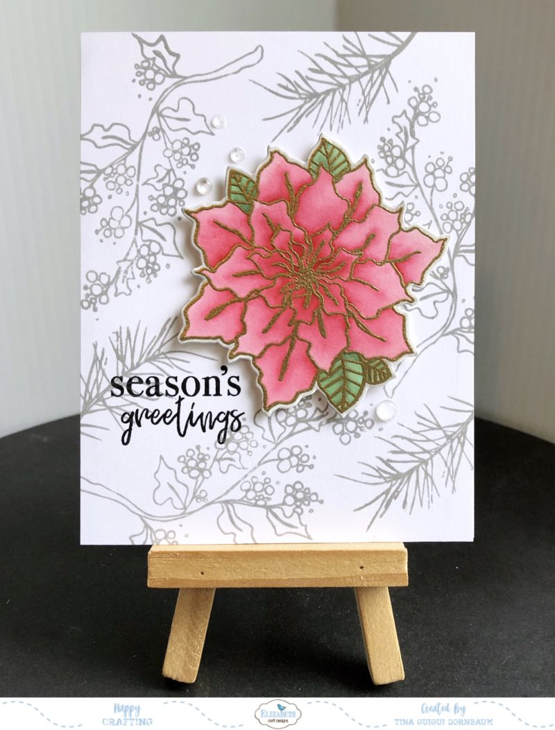 Season S Greetings Poinsettia Card Elizabeth Craft Designs