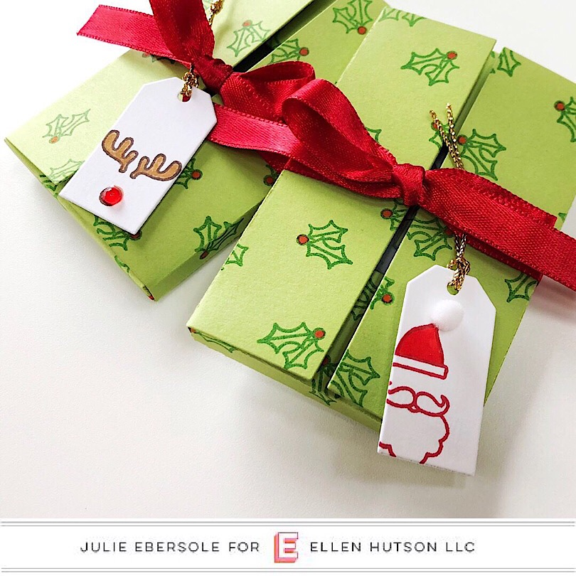 Essentials by Ellen Parcel Boxes decorated with the new Ugly Sweater stamps.
