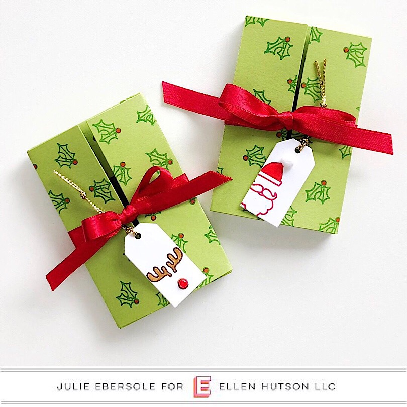 Essentials by Ellen Parcel Box packages decorated for the holidays with the new Ugly Sweater stamps.