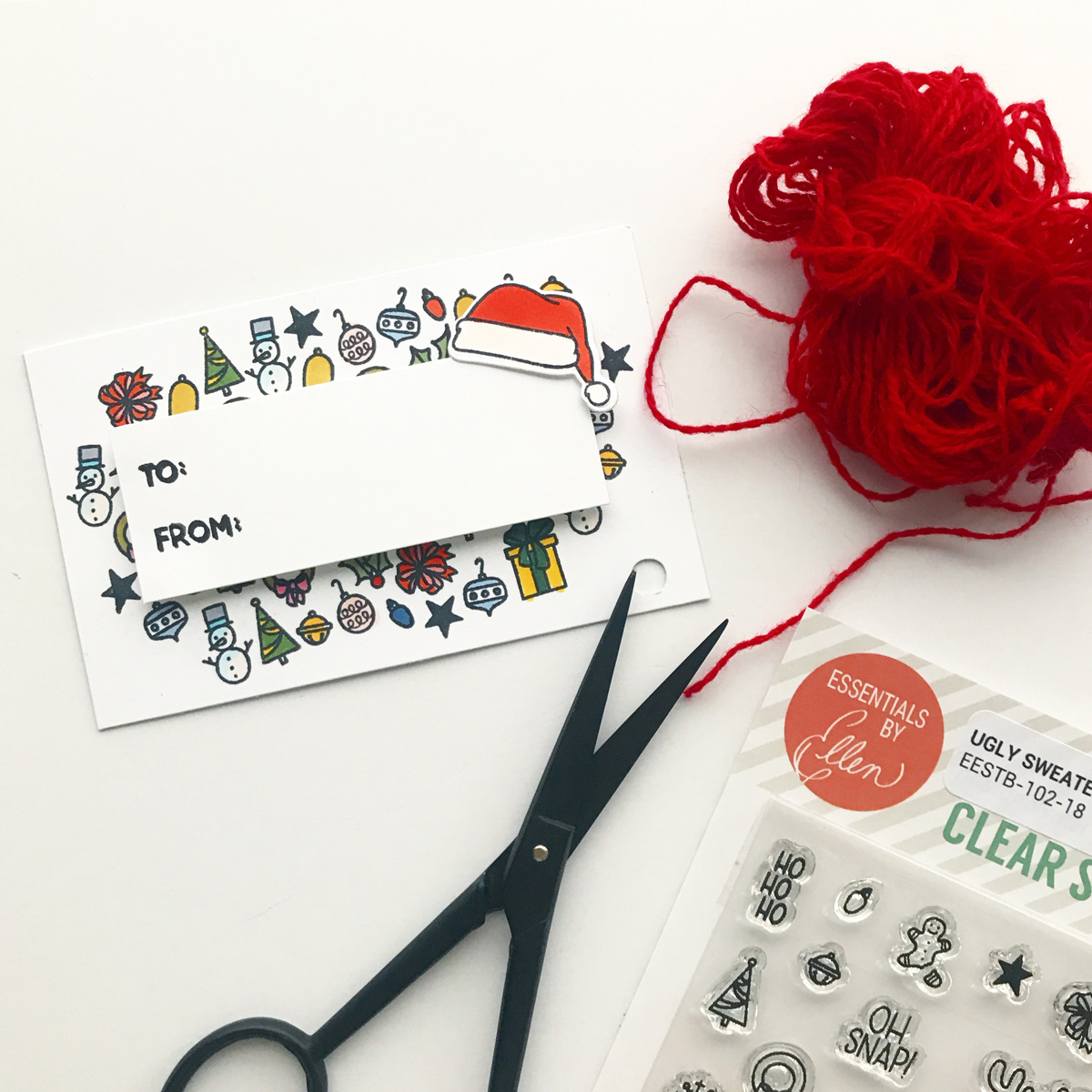 DIY Holiday Tag using tiny Essentials by Ellen stamps
