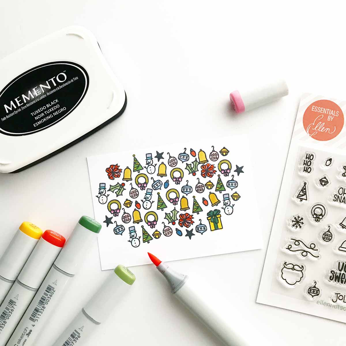 Collection of tiny Essentials by Ellen images colored with Copic markers