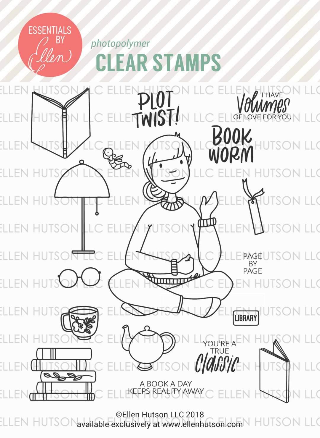 Essentials by Ellen Bookworm Lady stamps