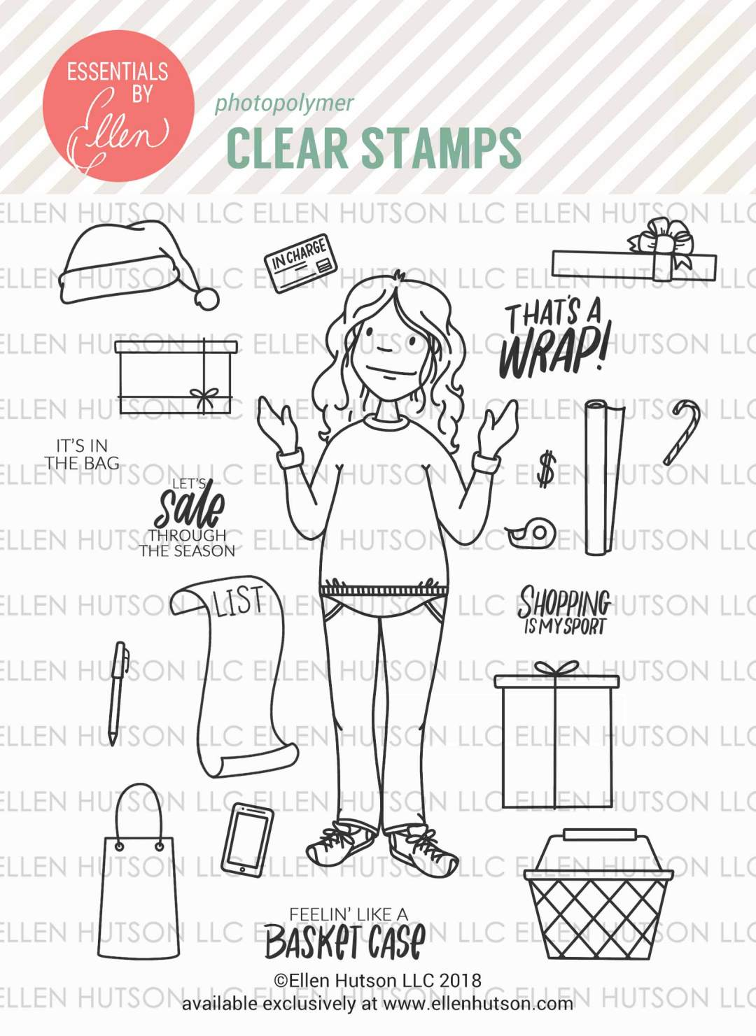 Essentials by Ellen Holiday Shopper Lady Stamps