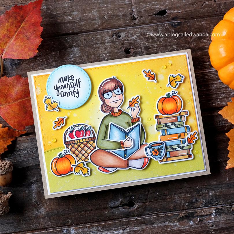 Essentials by Ellen Bookworm Lady card by Wanda Guess