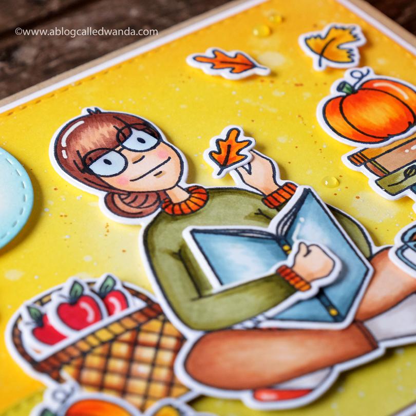 Essentials by Ellen Bookworm Lady card by Wanda Guess close up