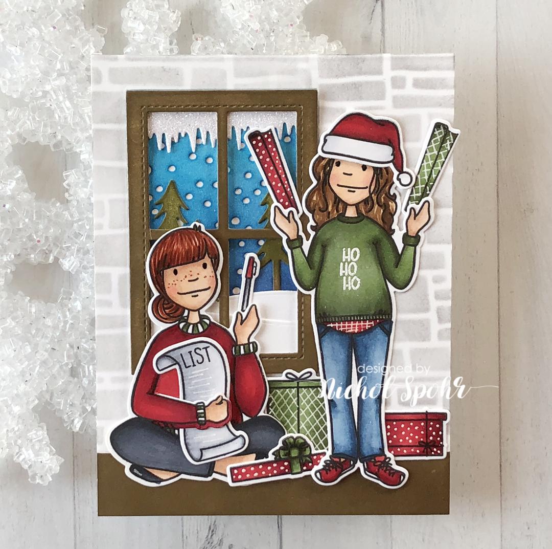 Essentials by Ellen Bookworm Lady & Holiday Shopper Lady card by Nichol Spohr