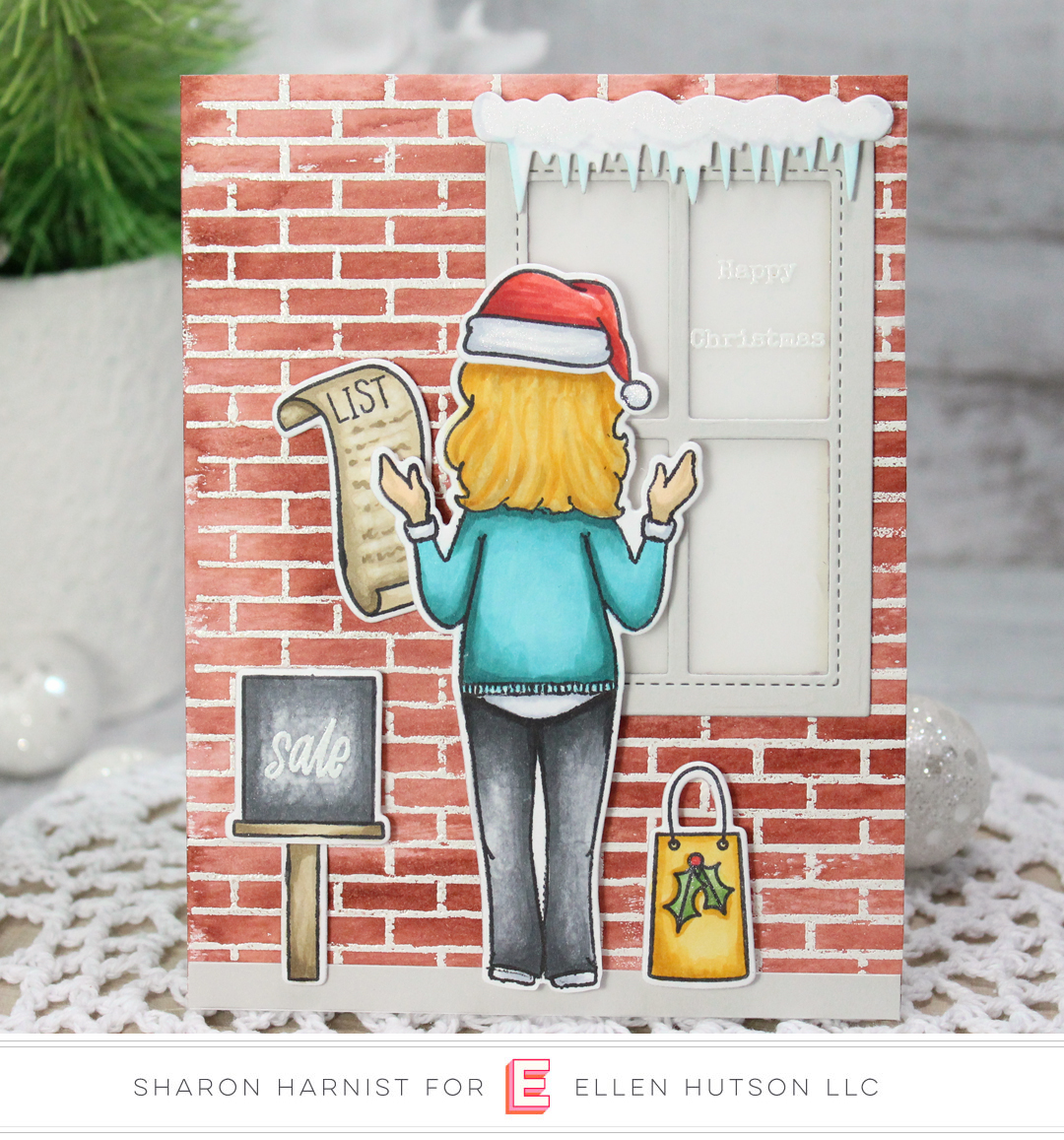 Essentials by Ellen Holiday Shopper Lady card by Sharon Harnist