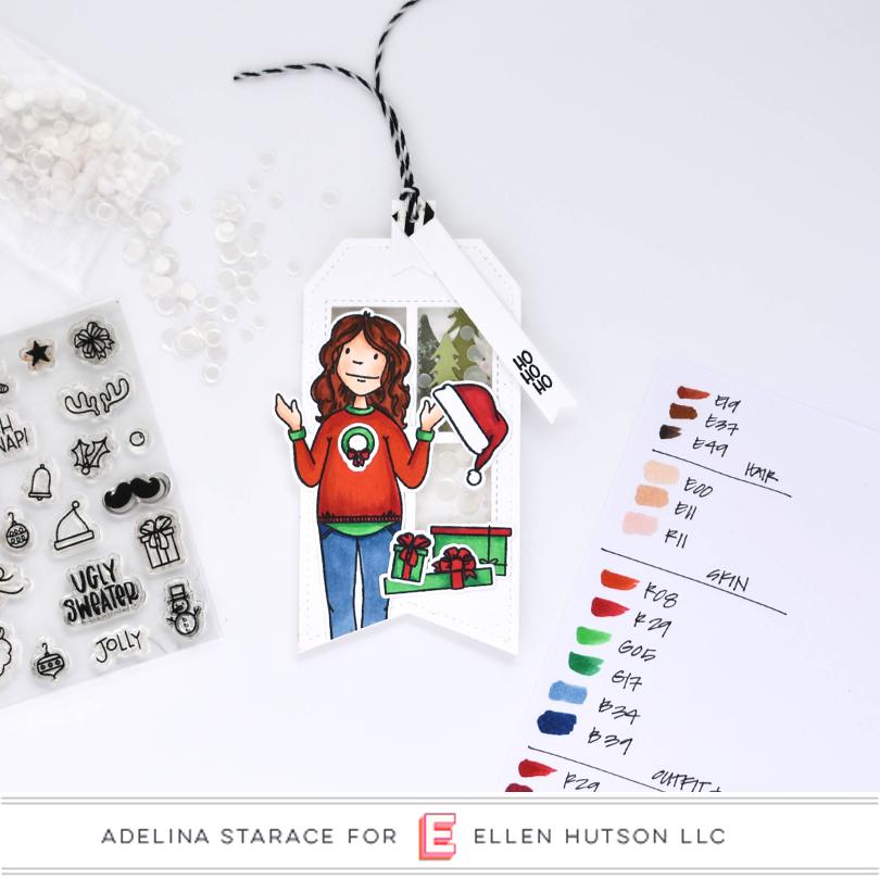 Essentials by Ellen Holiday Shopper Lady shaker tag