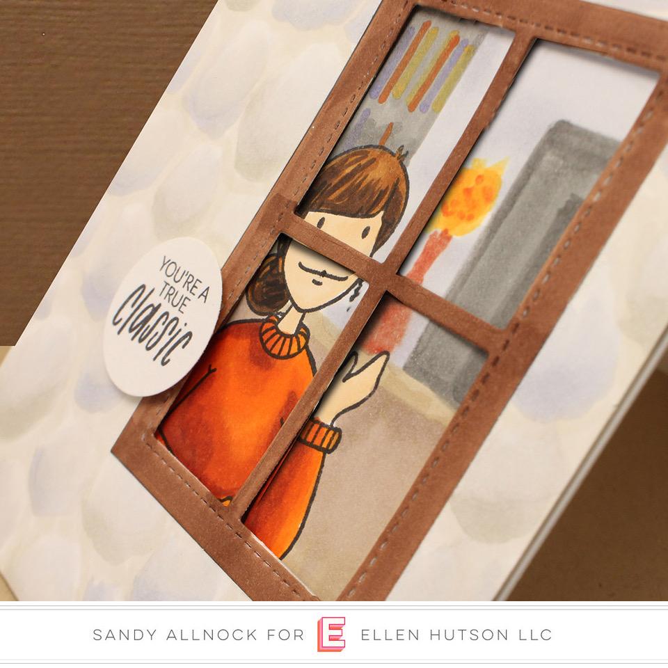 Essentials by Ellen Winter Window & Bookworm Lady card by Sandy Allnock