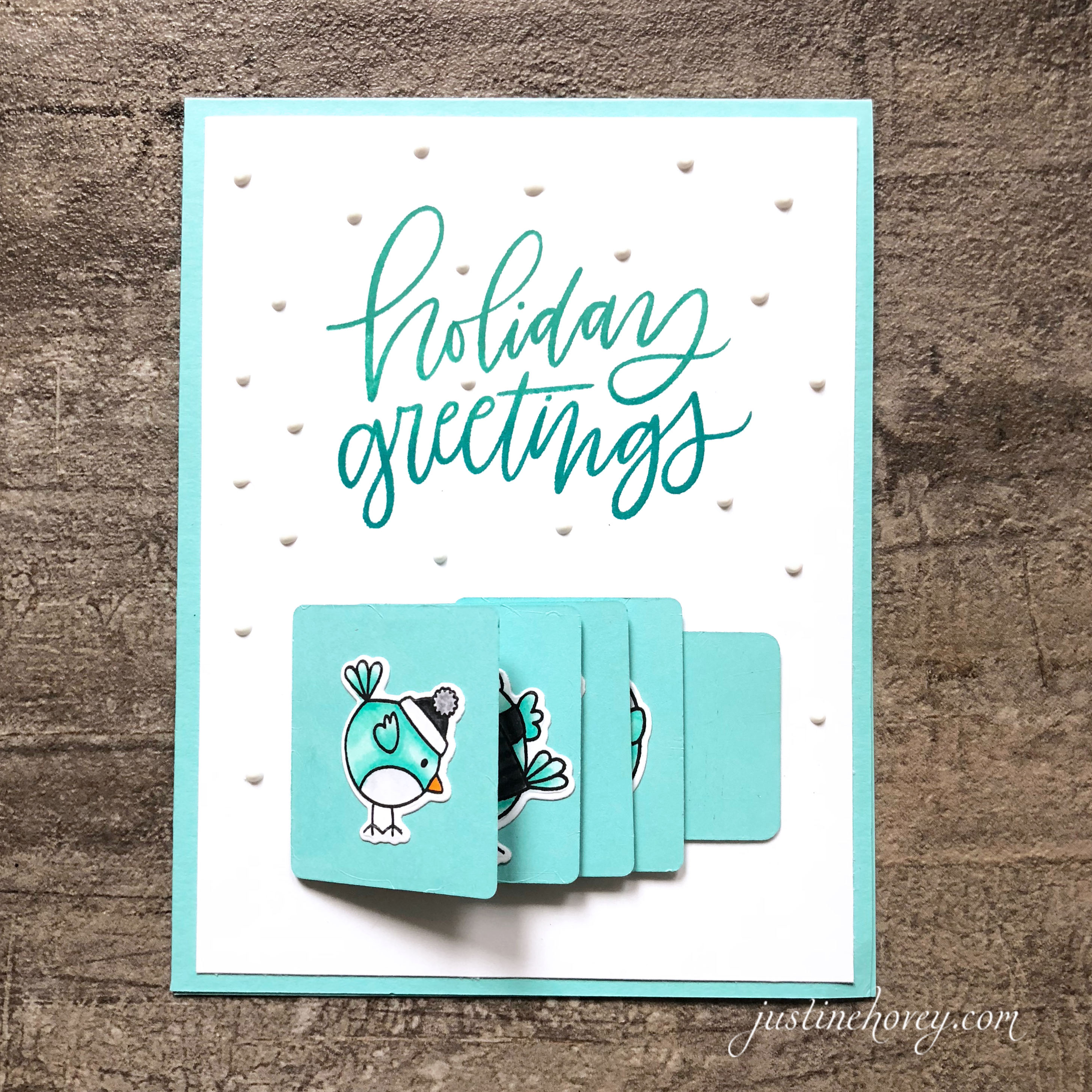 Holiday Flip Slider Card by Justine Hovey featuring Mama Elephant