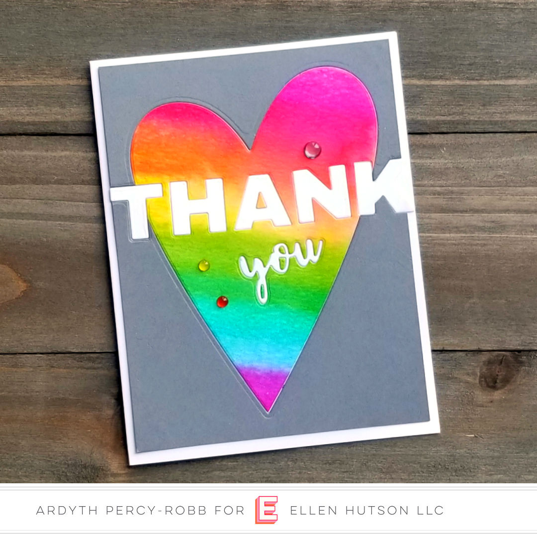 Inlaid heart thank you card
