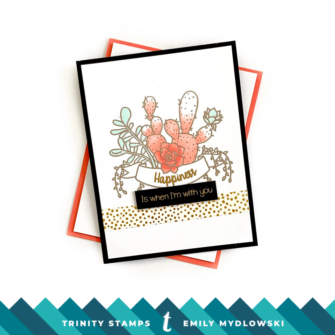 Pantone Living Coral card with Trinity Stamps Succulent Banners