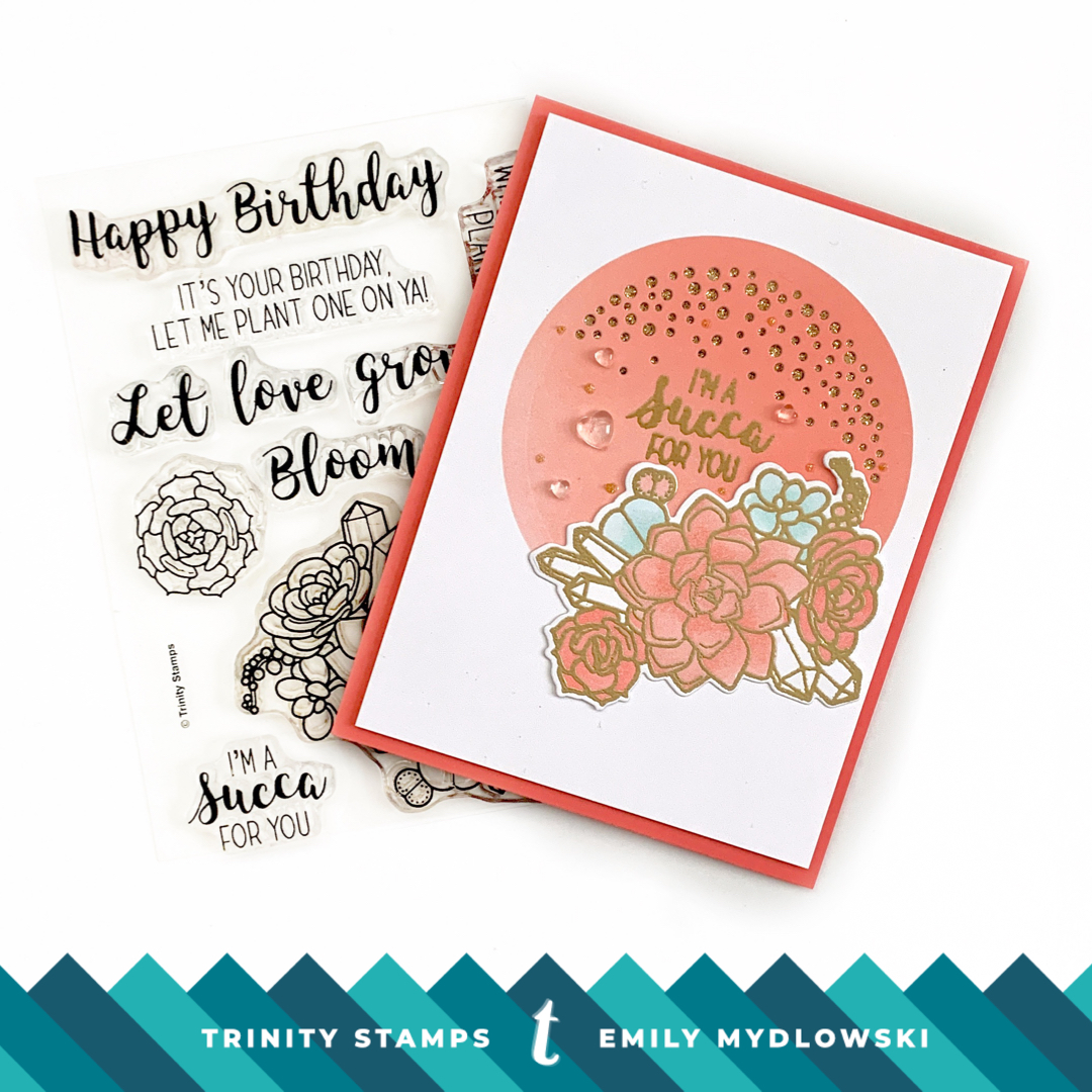 Pantone Living Coral card with Trinity Stamps Let Love Grow