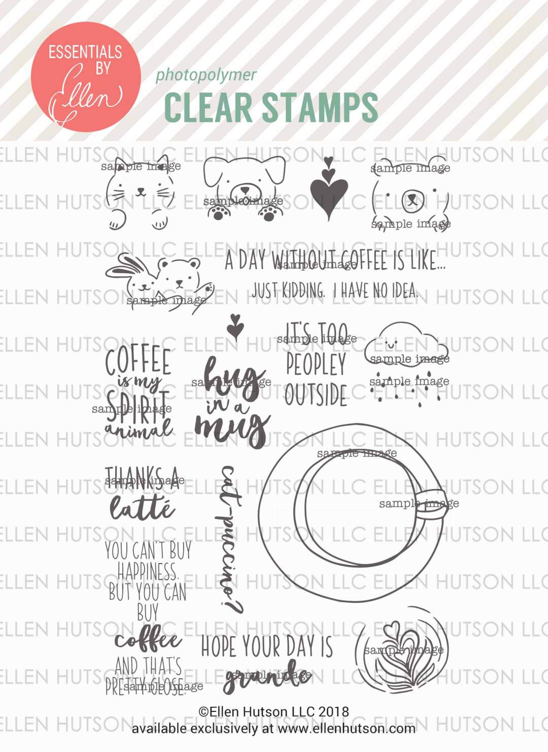 Essentials by Ellen Latte Love stamps