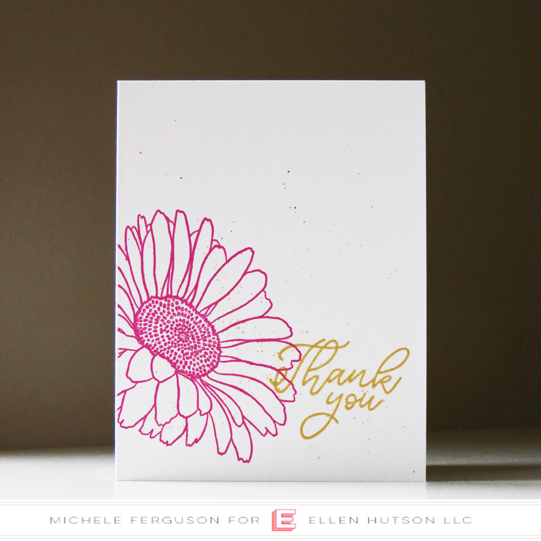Essentials by Ellen Mondo Gerbera Daisy card by Michele Ferguson