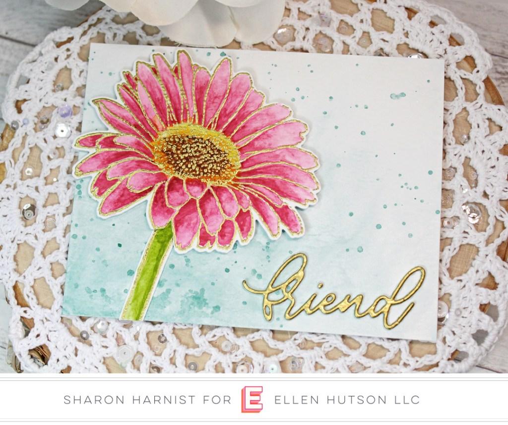 Essentials by Ellen Mondo Gerbera Daisy card by Sharon Harnist