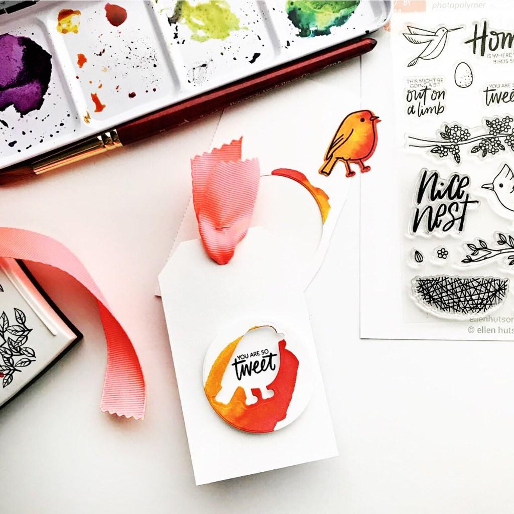 Watercolored card with Essentials by Ellen Backyard Bird Friends
