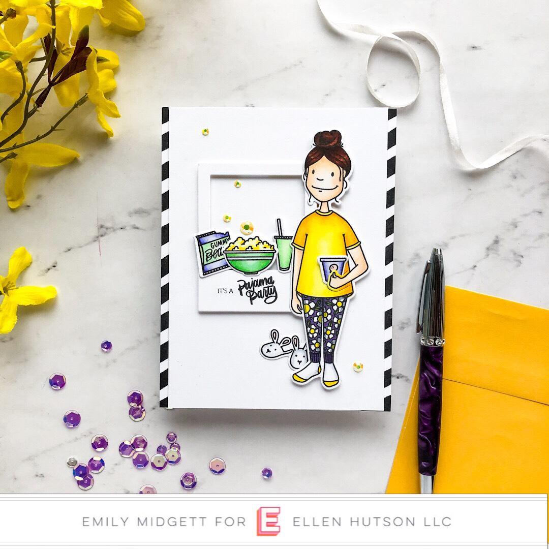 Essentials by Ellen Binge Watching Lady card by Emily Midgett