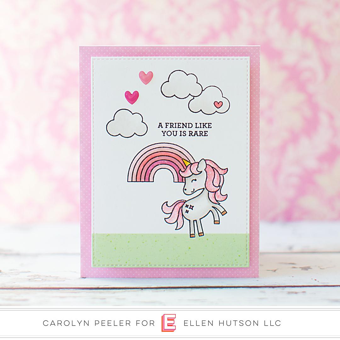 Doodlebug Unicorns & Rainbows card by Carolyn Peeler