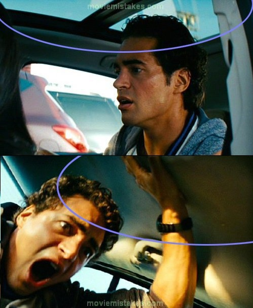2. Transformers la venganza de los caídos, el techo del auto deja de ser corredizo. El auto era un transformer?