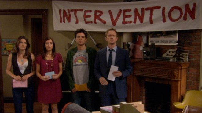 14. En total, hay 13 intervenciones del grupo: Por ejemplo, para que Marshall deje de usar tantos gráficos, o para que Ted deje de enamorarse de mujeres casadas