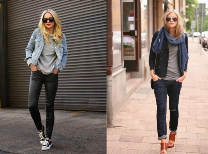 Para acompañar el pantalón negro y el azul, la remera gris es eterna.