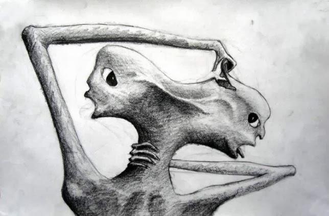 14. Dibujo hecho por un paciente esquizofrénico paranoide.