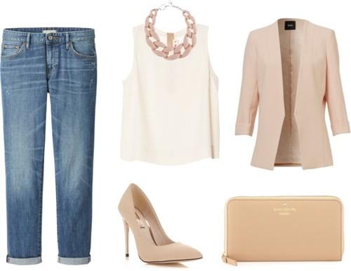 2. Si te parece informal la remera gris, podés usar una remera de vestir y seguir usando el mismo jean: