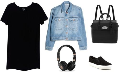 5. Agregar una campera de jean, cambiar los zapatos por panchas, la cartera de vestir por una mochila, y los auriculares de todos los días van a reemplazar a los accesorios.