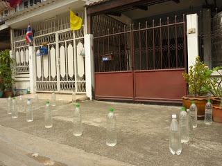 1- Botellas, llenas de agua, en árboles y canteros