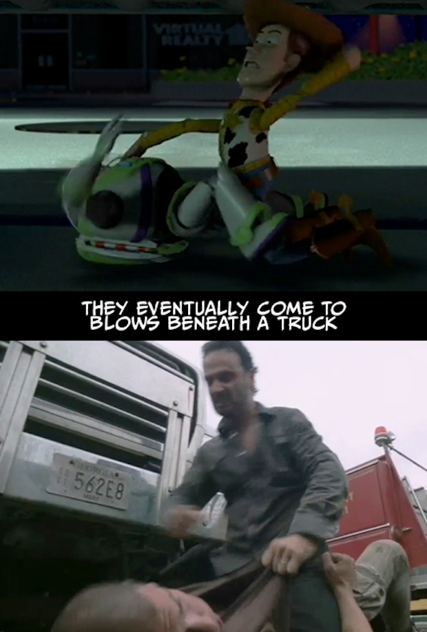 7. Que finalmente llegan a las manos por debajo de un camión.