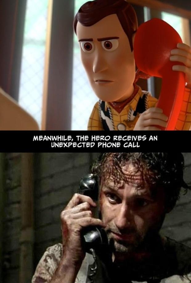 20. Mientras tanto, el héroe recibe una misteriosa llamada telefónica.