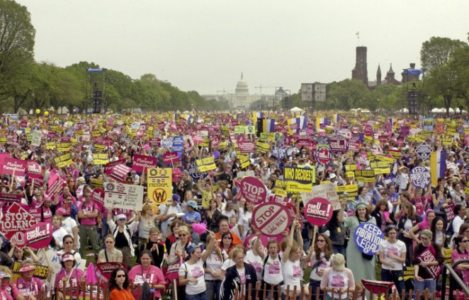 Tens of thousands of people gather on the National Mall in Washington, DC, for a rally and march which focused on protecting women