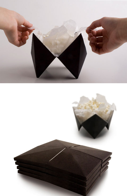 10. Un origami para hacer pochoclos en el microondas