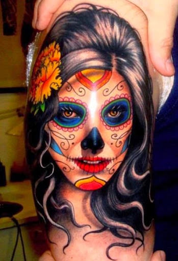 Lady face painting with flower in her hair 3d tattoo ideas.