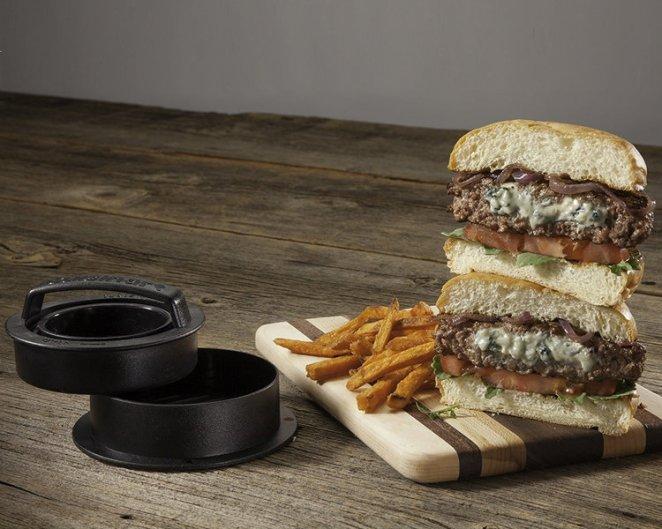 A stuffed burger press
