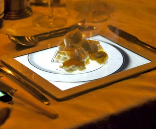 Self-Aware Absurdity? Apple Pastry Desert Served On An Image Of A Plate.... On An iPad
