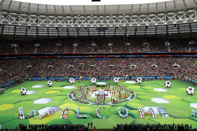 This is the official 2018 FIFA World Cup opening ceremony. The view from above doesn