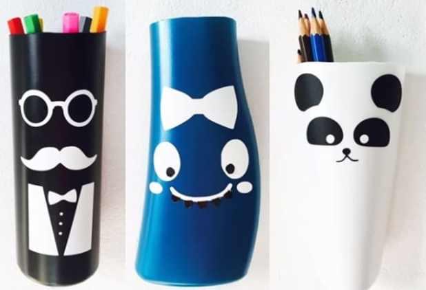 porta-lápis de embalagem de shampoo