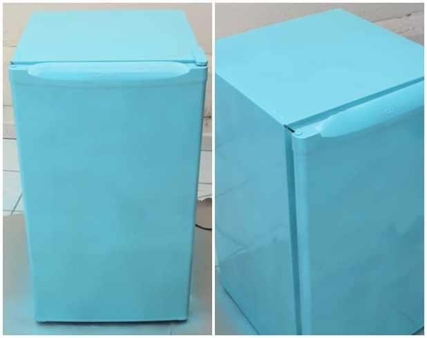 como pintar geladeira azul