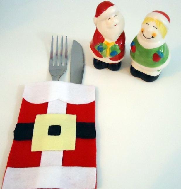 porta-talheres roupa do Papai Noel