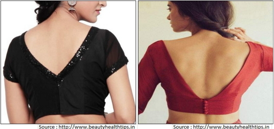 V Back Neck Blouse Designs