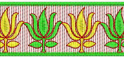 Lotus Embroidery Designs for lace border