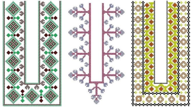 U Neck Embroidery pattern