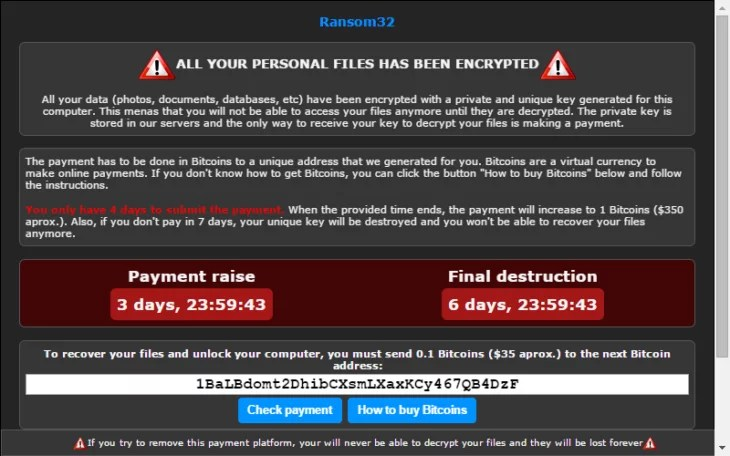 The ransom note displayed by the malware