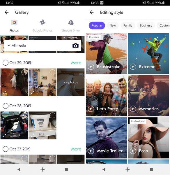 Magisto Android menu