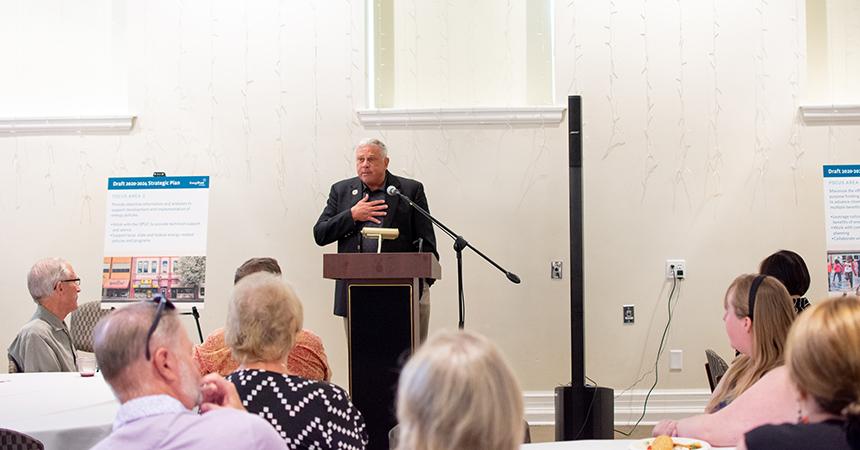 Pendleton Mayor John Turner addresses reception attendees